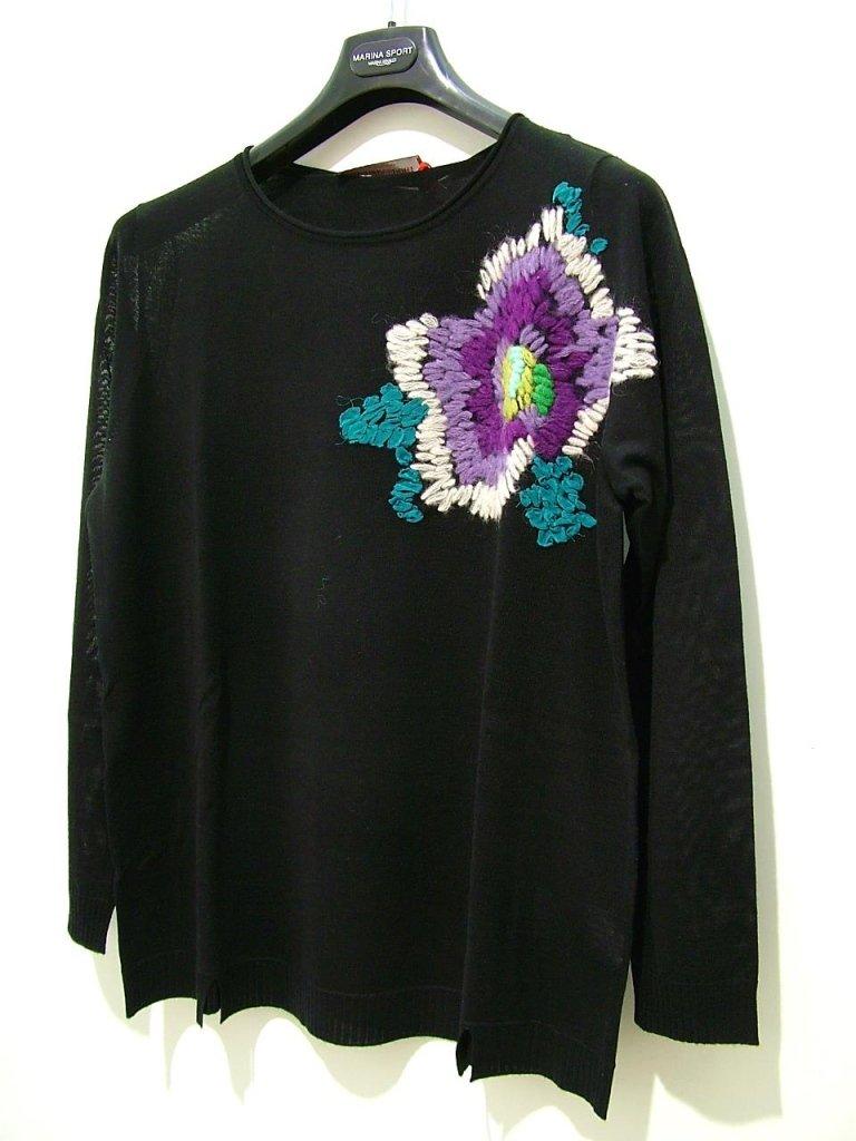 maglia nera ricamo