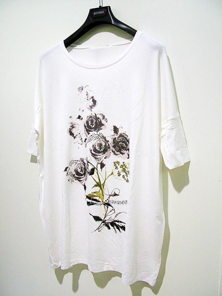 maglia con stampa di rose