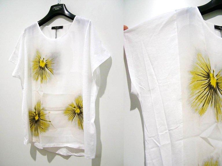 t-shirt bianca con fiori gialli