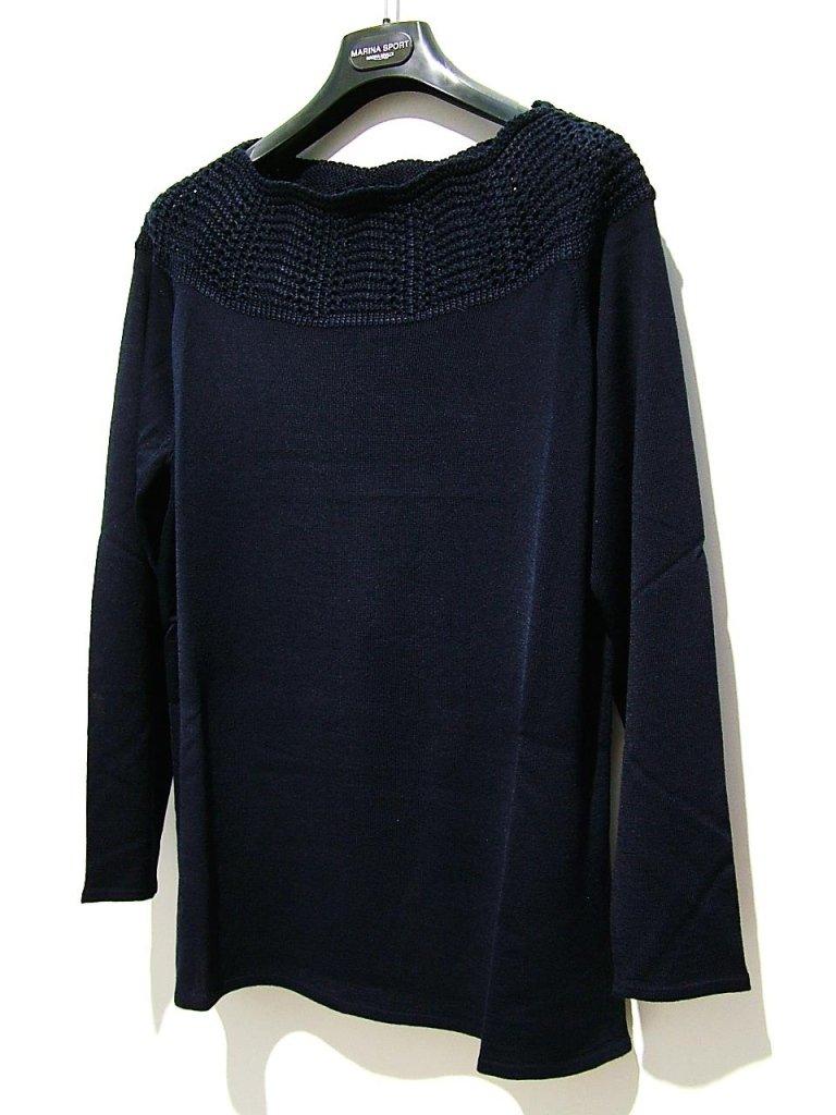 maglia blu collo ricamo