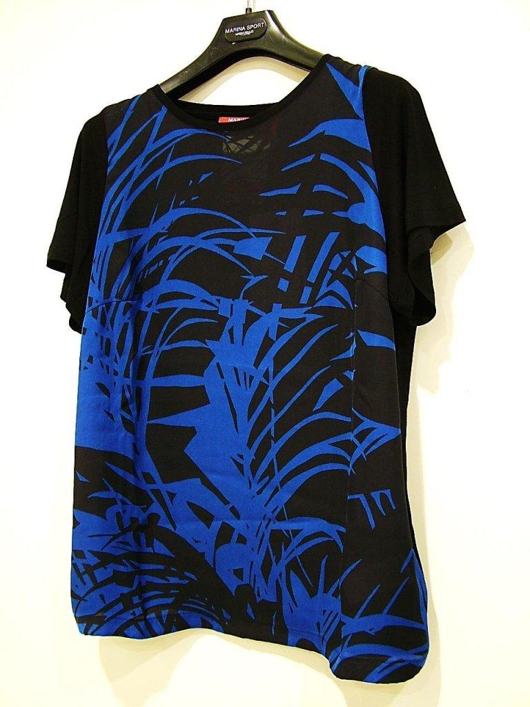 maglia blu e nera fantasia floreale