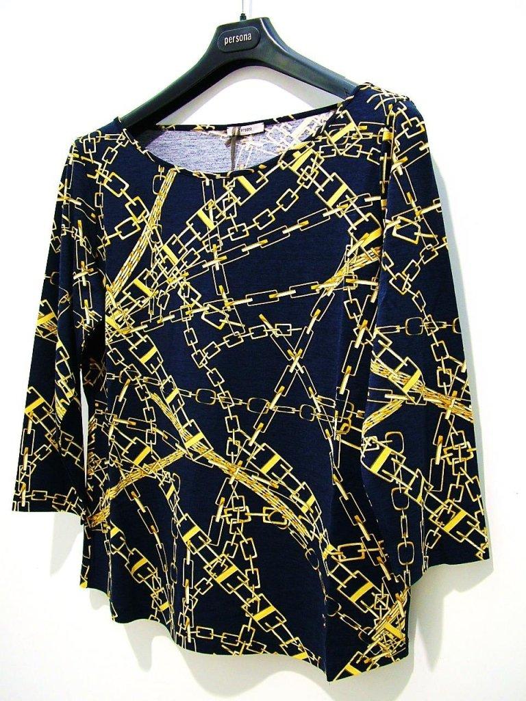 maglia blu con fantasia dorata