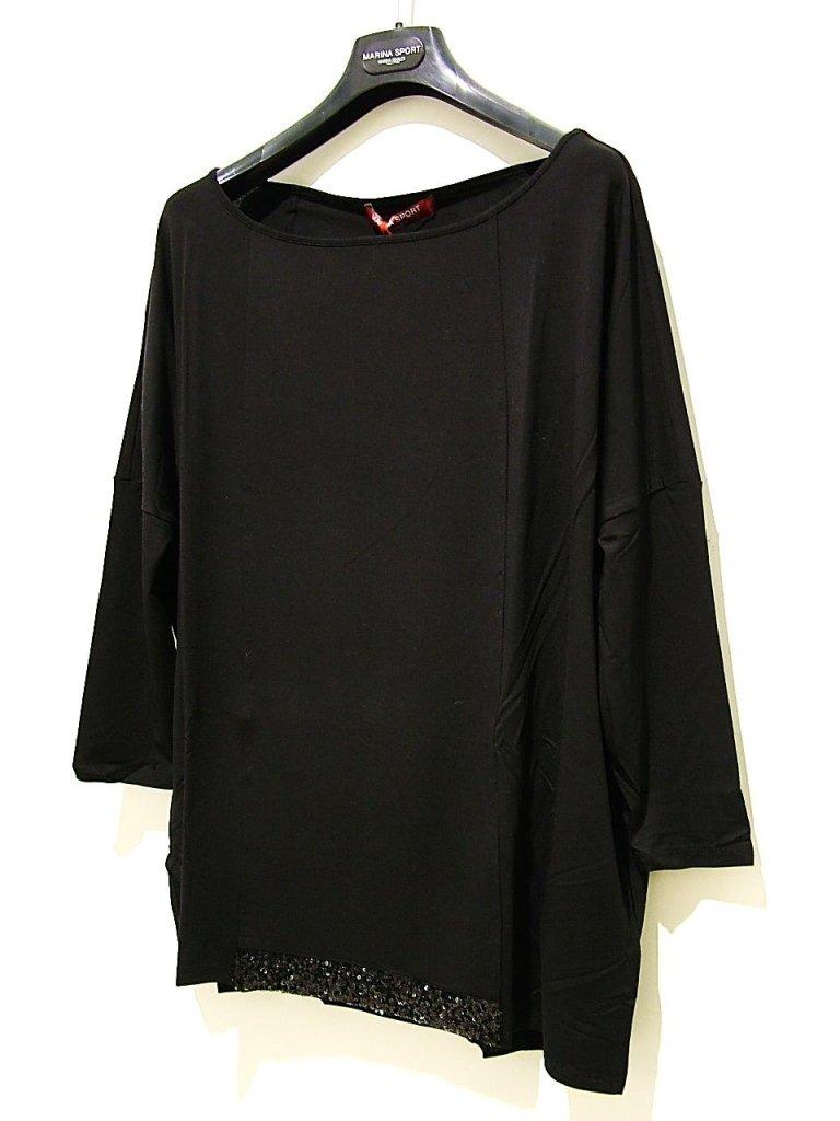 t-shirt in jersey nera paillettes in fondo