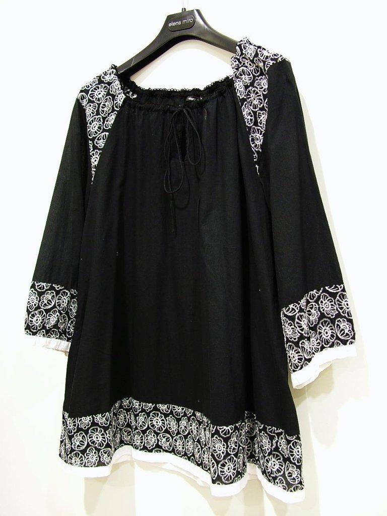 camicia nera con inserti bianchi