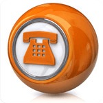 Image showing phone contact us symbol in an orange ball