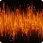 Image shoiwng orange sound waves on a black blackground symbolising background music & sound by Simcol in Wales
