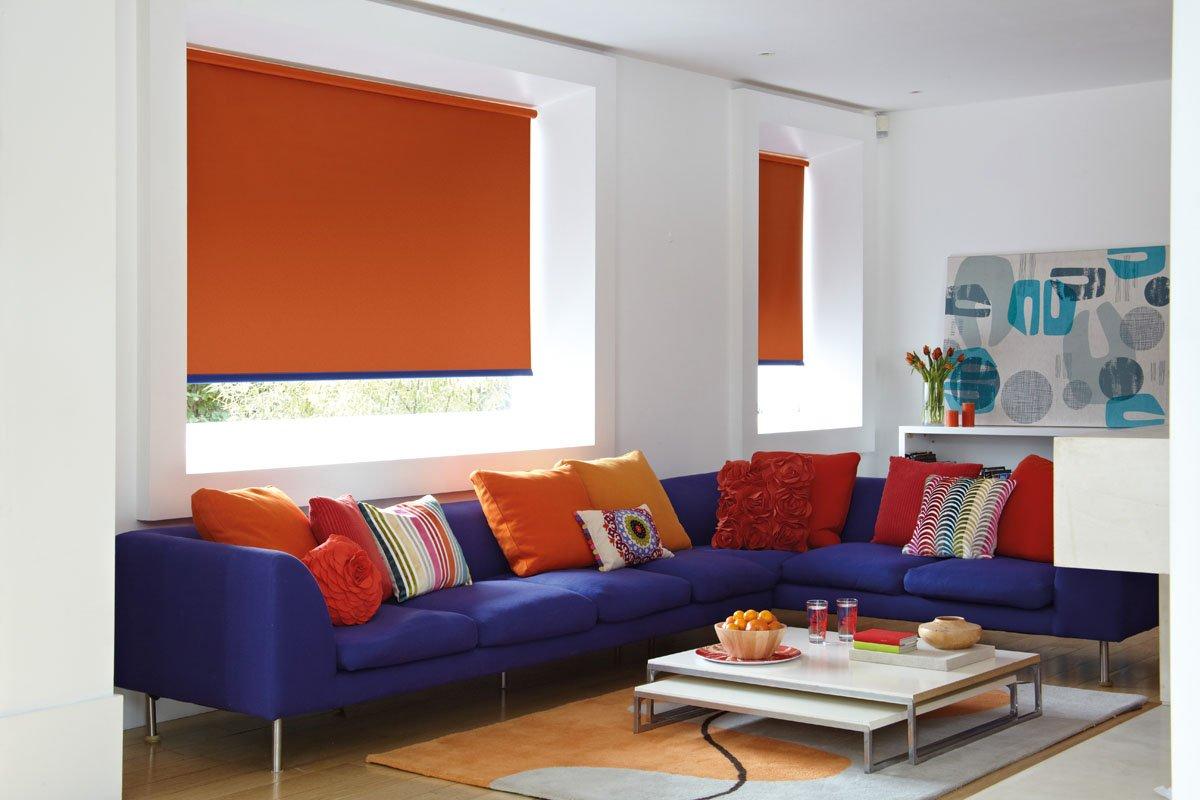 orange coloured blinds