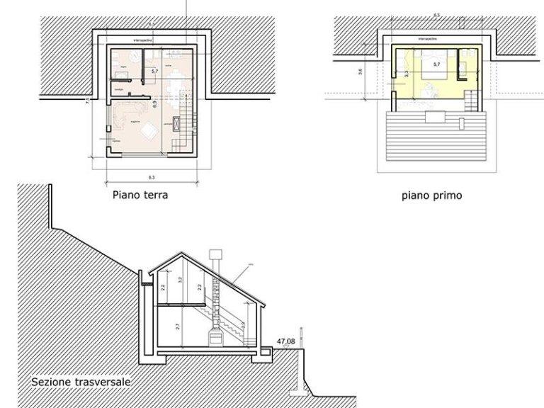 Piante e sezione abitazione