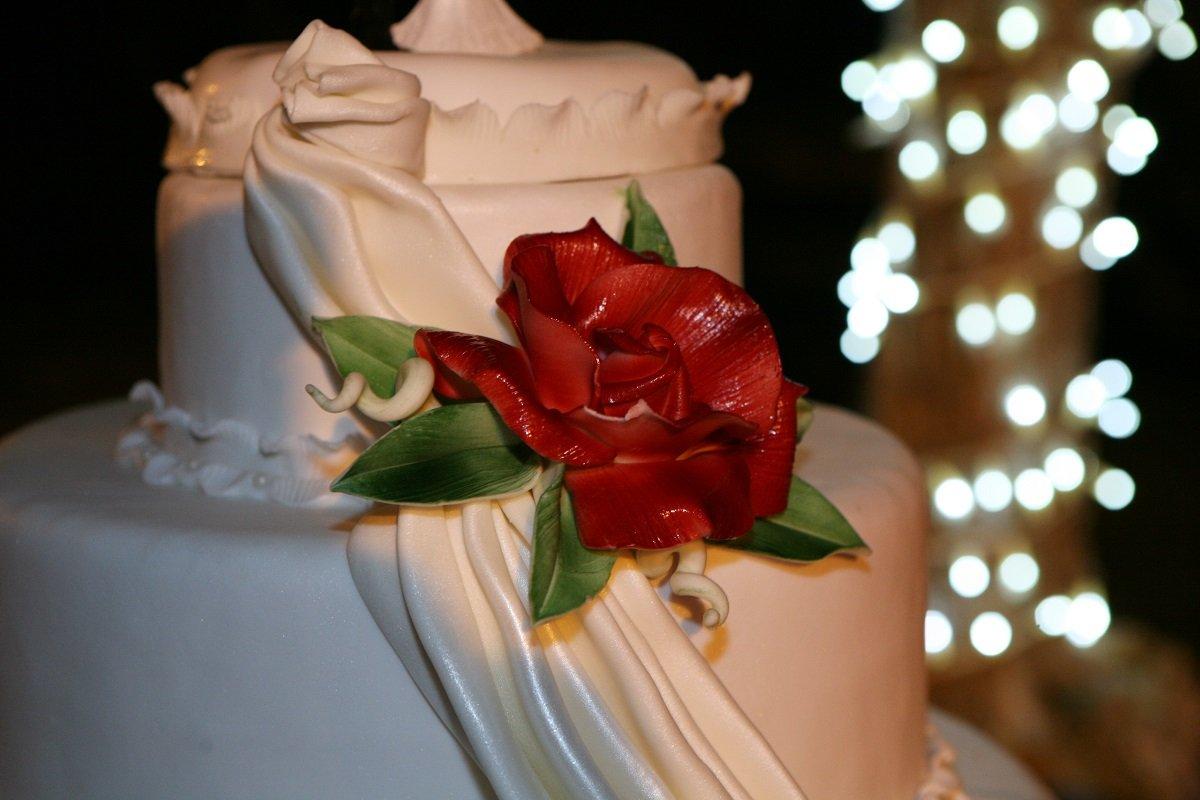 torta bianca con fiore rosso