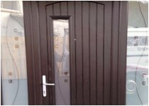 vertical striped brown door