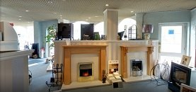 Inside All Fired Up Ripley fires and stoves showroom