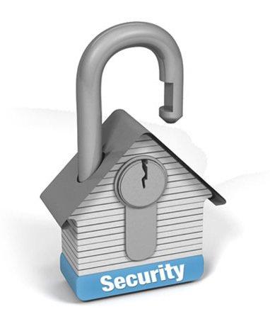 Security padlock shaped like a house