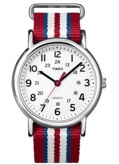 orologio con cinturino in tessuto a righe