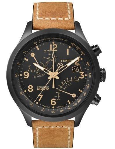 orologio nero con cinturino in pelle