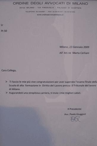 Certificazione dell'esame di diritto del lavoro dell'avvocato