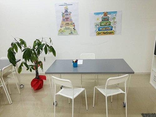vista frontale di una aula per lezione benessere con oggetti sul tavolo, sedie, vaso e parete decorata
