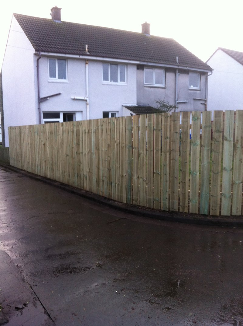 The completed timber fence