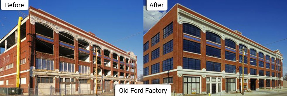Before and after pictures of a restored factory