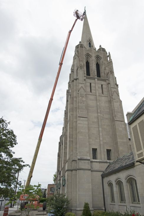 A church building being restored