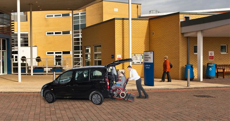 Wheelchair accessible vehicle outside a hospital