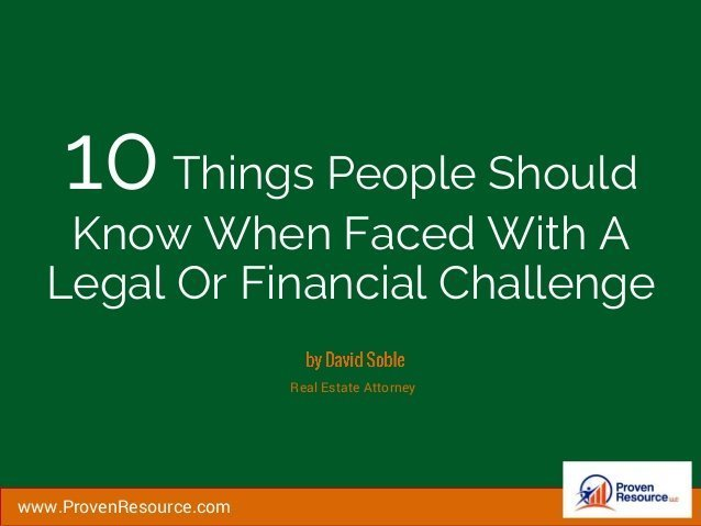 10 Things People Should Know In Financial or Legal Challenge