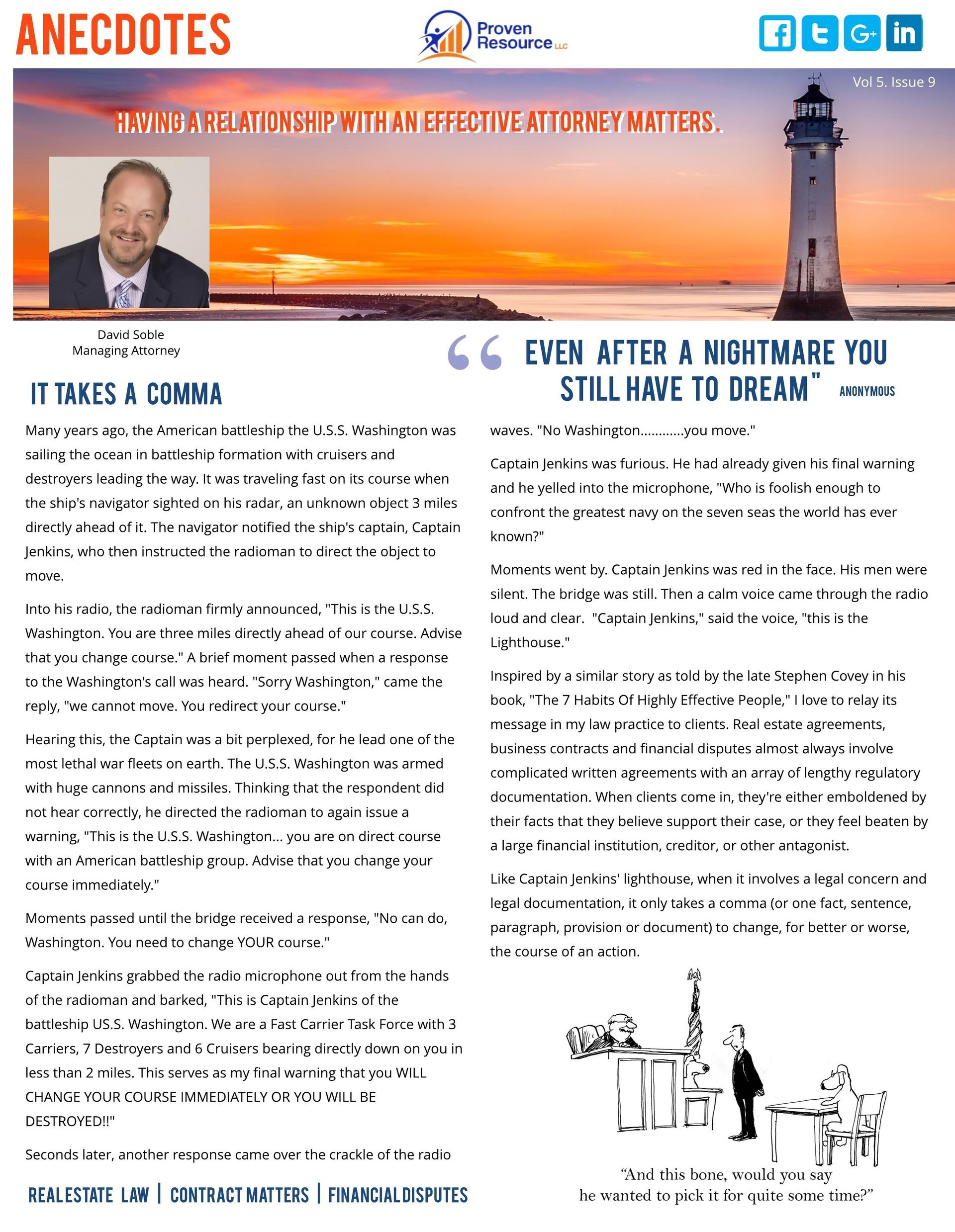 Proven Resource Newsletter Octoberish Cover Page