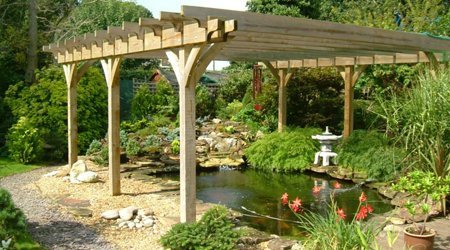 A water feature underneath a timber awning
