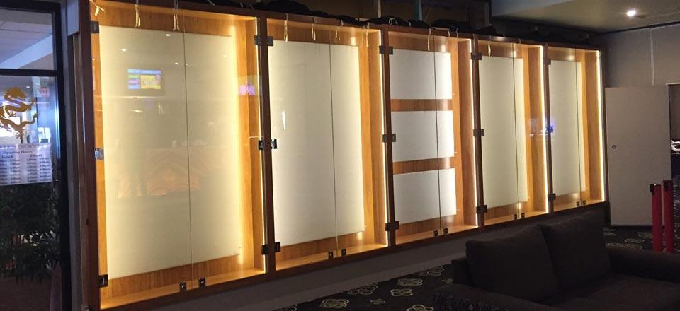 glass bifold cabinets