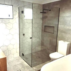 bathroom with a glass shower screen