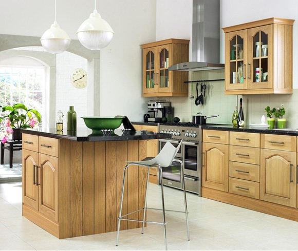Modern kitchen with wood features