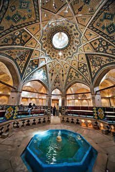 iran structure, art inside house , fountain inside house