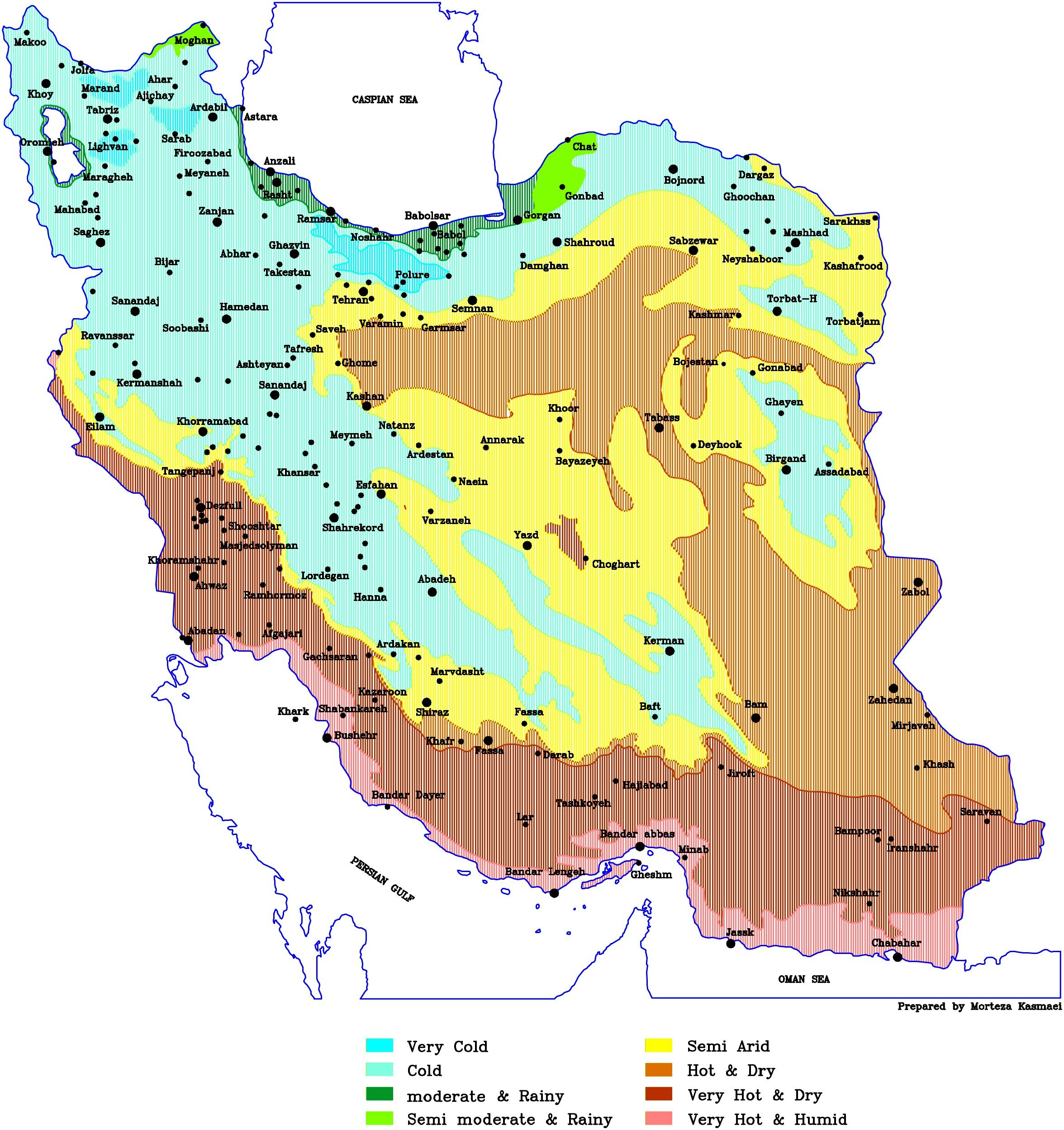 Iran Temperature Map