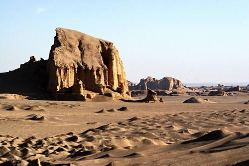 Iran desert, lut desert, mountain in desert