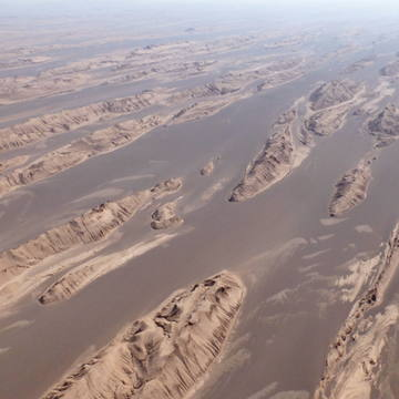 Iran desert, lut desert, desert from sky