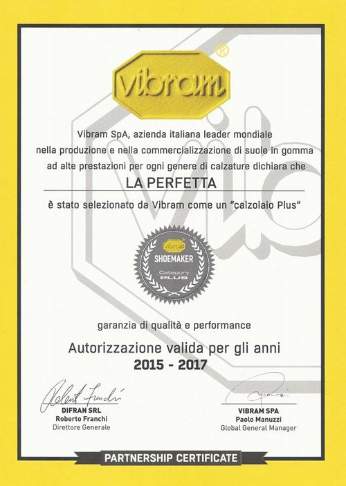 certificato di partenariato Vibram