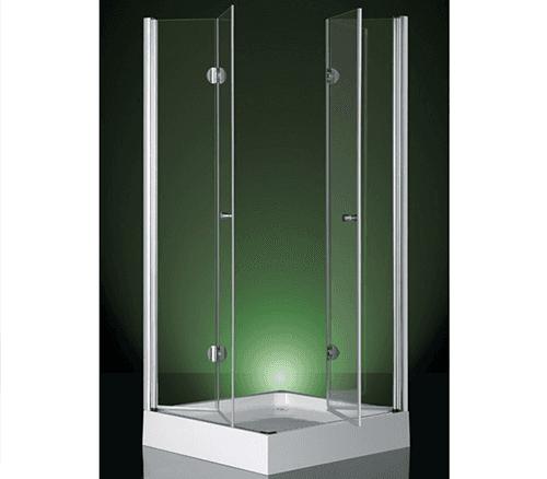 il vetro di un box doccia con vista del bagno