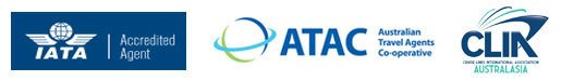 Iata logo, atac australian travel agents, CLIA accreditation