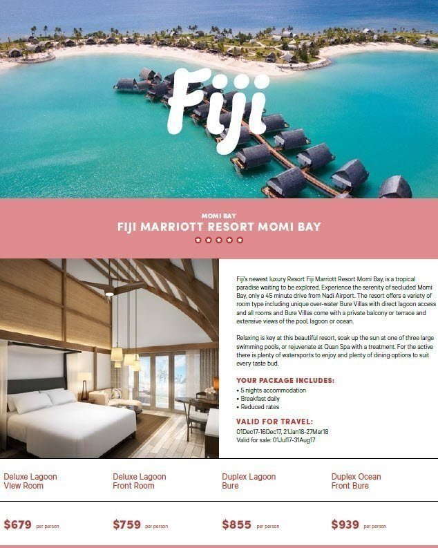 Don't miss this amazing offer at Marriott Fiji Resort Momi Bay - on sale from Saturday 1 July. Fiji's newest luxury resort.
