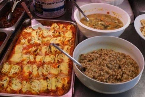 cannelloni e zuppa di cereali