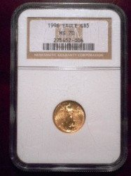 1/10 oz. gold coin MS70 sold at auction