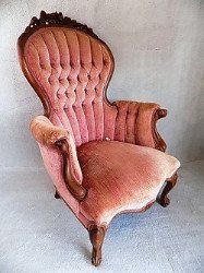 Antique button tufted parlor chair sold at auction