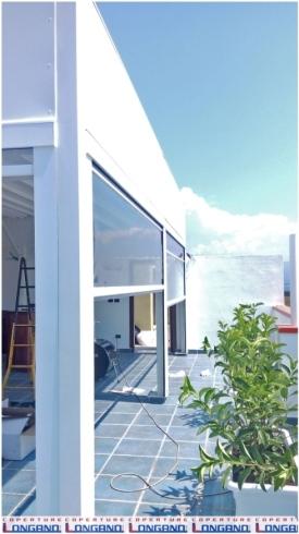 tende verticali; tende steccate; cristal; bianco; struttura; pergola