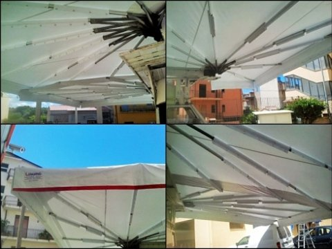 tenda in PVC; tenda per ambulante; PVC; bianco; rosso
