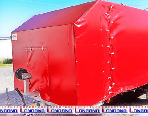 pvc; rosso; copertura; carrello; trasporto auto; coperture longano
