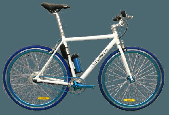 bici bianca e blu