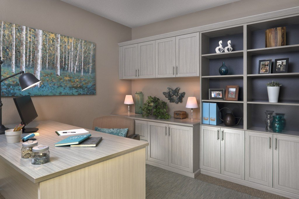 Custom Home Office Cabinets With An Arctic Finish