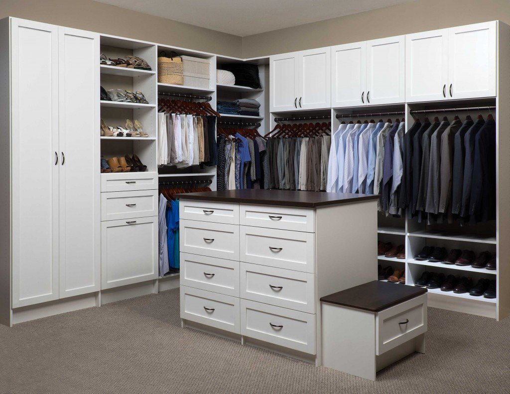 Custom Walk In Closet System With A White Finish