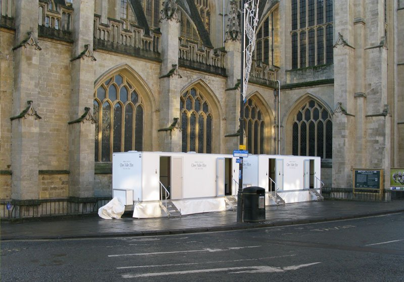 Toilets for hire outside a building