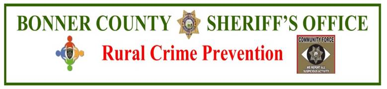 Bonner County Rural Crime Prevention in Blanchard Idaho
