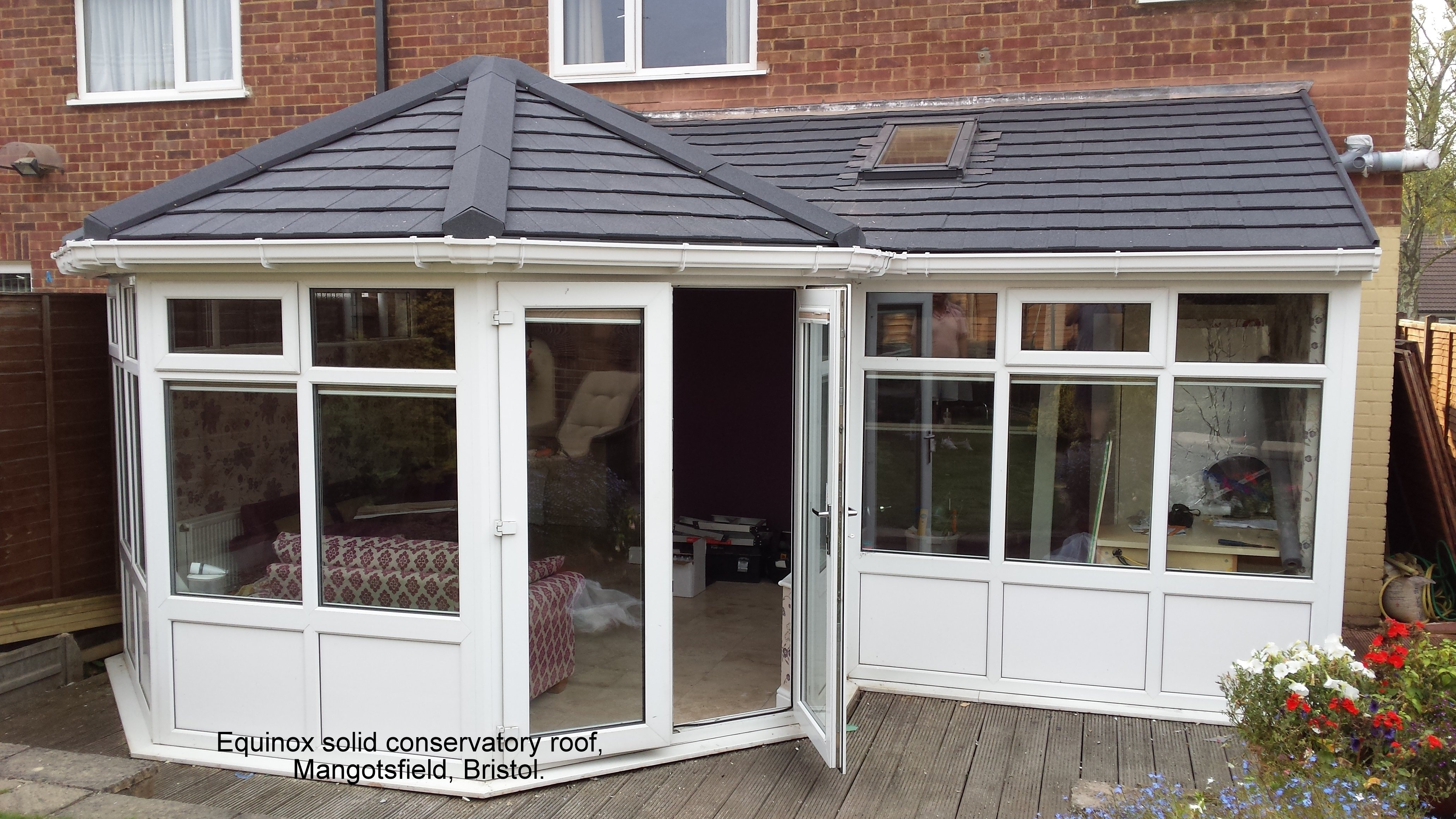 Conservatory with a glass roof